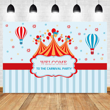 NeoBack Balloon Hot Air Photo Backdrop Welcome To The Carnival Party Background for Shoots