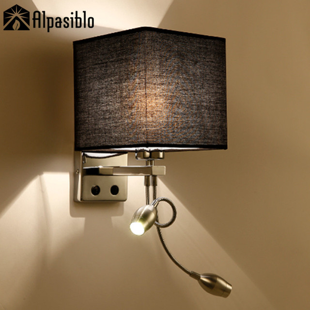 Modern Bed Wall Lights Led Reading Lamp Hostel Night Tubing Rocker Light Fabric Sconce Bathroom Fixtures In Indoor Lamps From