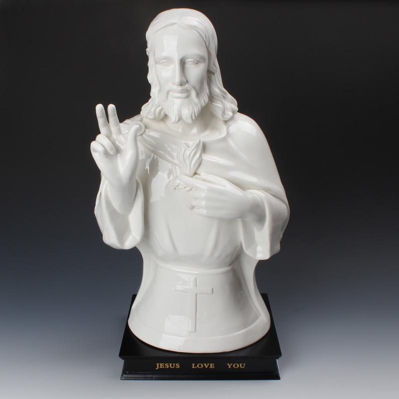 Céramique jésus figure statuette cadeau chrétien catholique saint ornement porcelaine blanche agneau de dieu homme de douleurs Sculpture statue