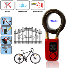 RAYKUBE قفل باب رقمي كهربائي مع سلك حبل قفل ذكي مقاوم للماء المنزل مكافحة سرقة قفل مع إنذار 110dB للباب والدراجات