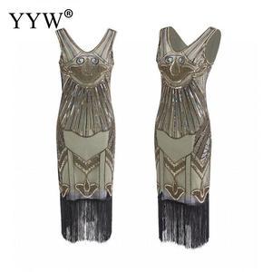 Image 3 - Vintage 1920s Flapper sukienka w stylu wielki Gatsby 2020 lato V Neck V z długim tyłem bez rękawów cekiny warstwa pomponem kostiumy fantazyjne sukienek