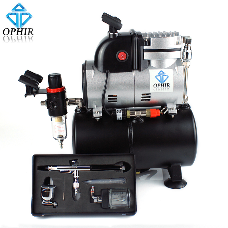 OPHIR PRO Single Cylinder Piston Compressor with Air Tank &Extra Cooling Fan 0.3mm Airbrush Kit for Temporary Tattoo_AC116+AC005 520w cooling capacity fridge compressor r134a suitable for supermaket cooling equipment