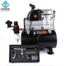 цена на OPHIR Single Cylinder Piston Compressor with Air Tank &Extra Cooling Fan 0.3mm Airbrush Kit For Temporary Tattoo_AC116+AC005