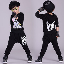 Fashion Spring Autumn children's clothing set Black Costumes kids sport suits Casual wear Hip Hop dance pant & sweatshirt