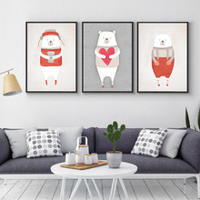 Nordic Cute Animals Bear Hippo Penguins A4 Diy Canvas Painting Print Poster Kids Room Wall Pictures For Living Room Home Decor