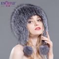 Women's winter fur hat raccoon fox fur ear protector cap with fur pom poms 2016 female warm bomber hat good quality hot sale