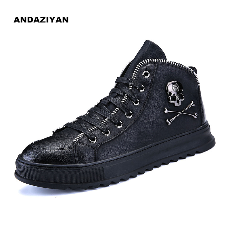 Men's thick bottom high high to help plate shoes men Skull fashion casual tide shoes