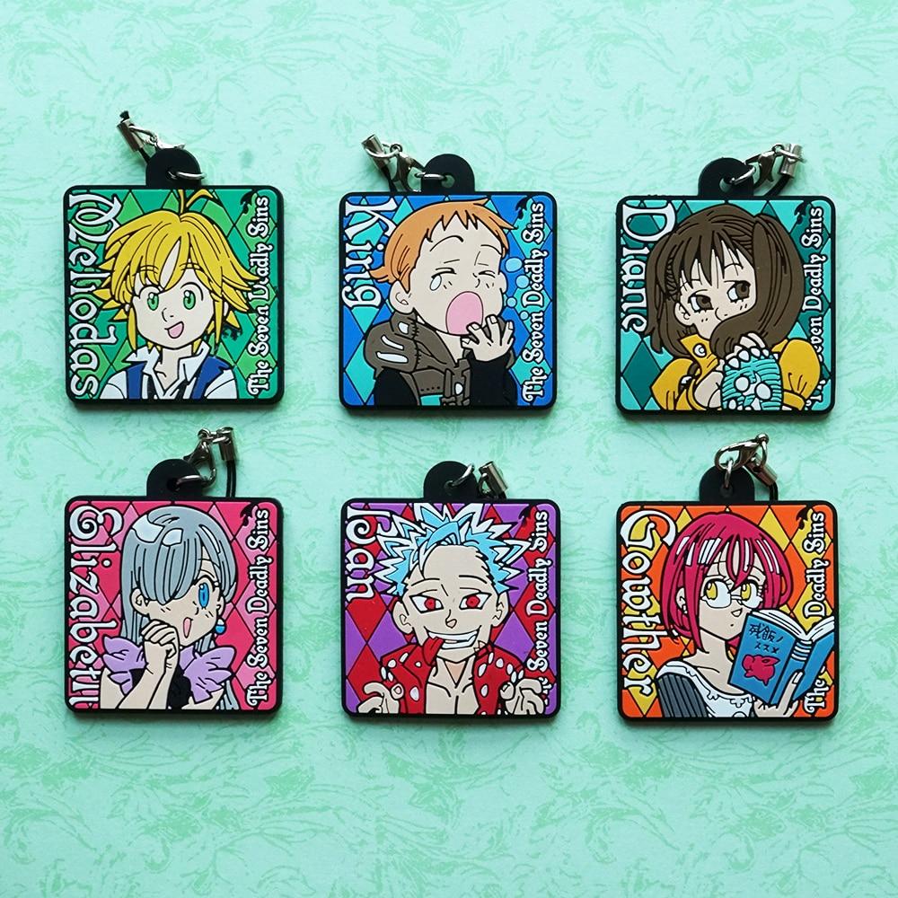 все цены на Meliodas King Elizabeth Diane Ban Gowther Anime The Seven Deadly Sins Nanatsu No Taizai Japanese Rubber Keychain онлайн