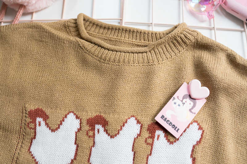 Divertente Gallina Deporre Le Uova di Autunno Delle Donne Pullover Maglie e Maglioni O Collo Manica Lunga Allentato Knit Maglione Giallo Femminile Inverno Maglione Top