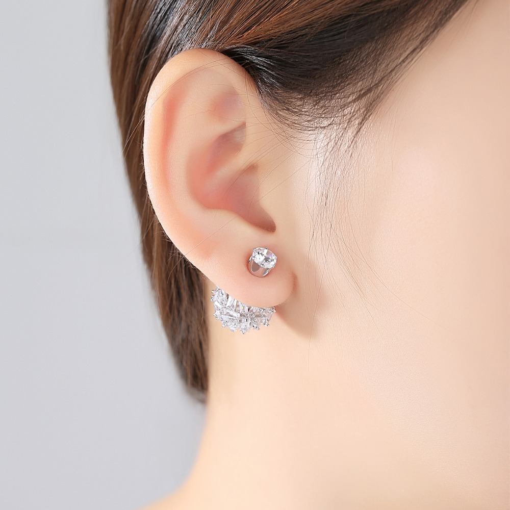 Fashion Classic Double Balls Stud Earrings for Women Paved transparent Black Cubic Zirconia Crystal Girl Party Jewelry Gift in Stud Earrings from Jewelry Accessories