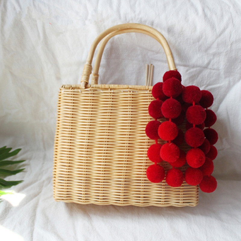 Straw Bag Color Ball Decoration Women Summer Beach Bag Cover Basket Shape For Travel Lined with Handmade Drawstring Bag handbag stylish gauze flower decorated solid color beach straw hat for women