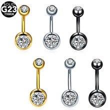 1 PC G23 14G de Titânio Piercing No Umbigo Piercings Piercings Barriga Anéis Piercing No Umbigo Ombligo Nombril Umbigo Anéis Corpo Negro jóias