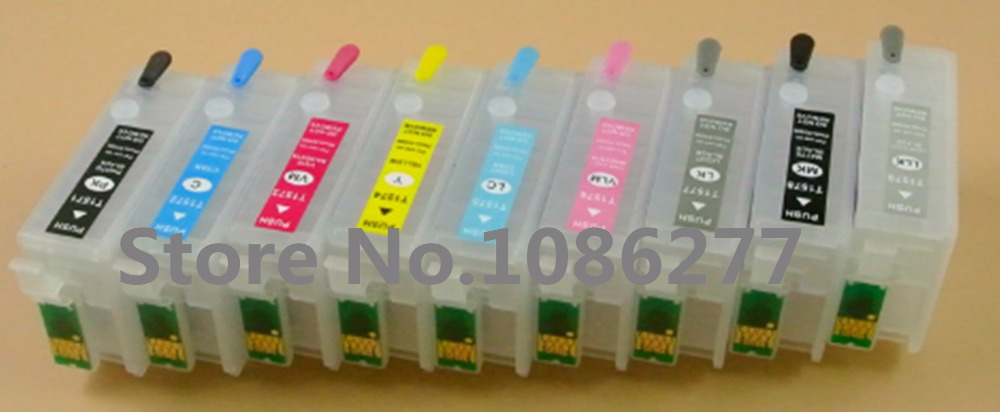 Refillable ink cartridges with arc chip for T7601 to T7609 for Epson surecolor p-600 p600 sc-p600 inkjet printers free shipping t0540 t0549 refillable ink cartridges with arc chip for epson photo r800 r1800 printer