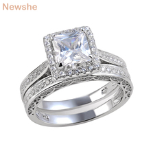 Newshe 2 قطعة خاتم الزواج مجموعة مجوهرات الكلاسيكية الأميرة قص AAA CZ 925 فضة خواتم الخطبة للنساء حجم 5 إلى 12