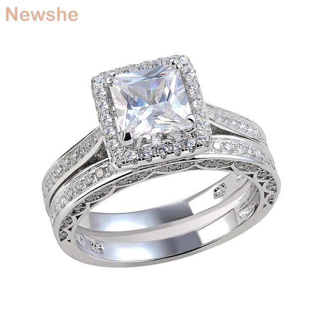 ae9e8dcc02a6 Newshe 2 Pcs Wedding Ring Set Fashion Jewelry Princess Cut AAA CZ 925  Sterling Silver Engagement Rings For Women Size 5 to 12