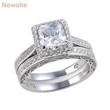 Newshe 2 Stuks Wedding Ring Set Klassieke Sieraden Princess Cut Aaa Cz 925 Sterling Zilveren Verlovingsringen Voor Vrouwen Maat 5 Tot 12