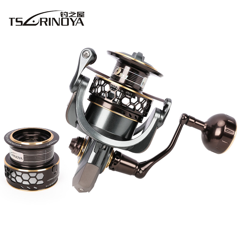 TSURINOYA Jaguar5000 Two Metal Spool Spinning Fishing Reel 9+1BB/5.2:1/7kg Carretes Pesca Carretilha Moulinet Peche De Pescaria tsurinoya fs3000 fishing spinning reel 9 1bb 5 2 1 metal spools fishing lure reels max drag 7kg carretilha de pesca direita