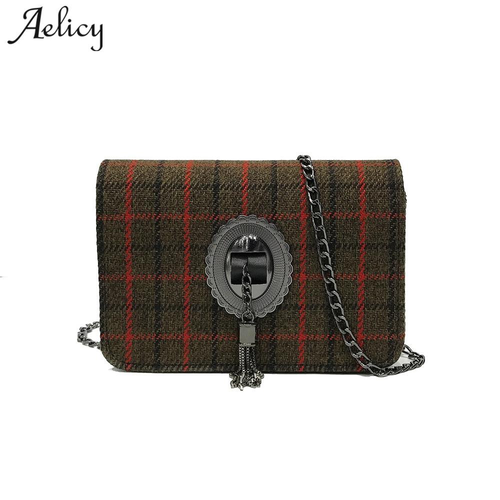 Aelicy womens fashion plaid tassel hasp crossbody bags for women chains ladies womens purses and hand bags fashion women bag