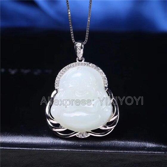 925 argent Sterling blanc HeTian Jade sculpté riant bouddha Design pendentif chanceux + chaîne breloque collier bijoux fins charme cadeau