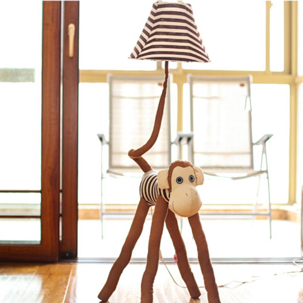 ФОТО High Quality 110V/220V E27 Children Room Light Luxurious Bedroom Design Kids Floor Lamp Led Cute monkey Children's Floor Lamps