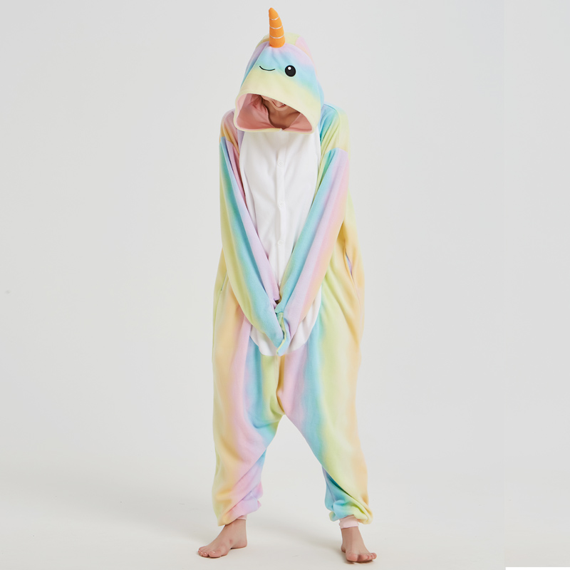 Nice Whale Onesies Pajamas Rainbow Polar Fleece Adult Kigurumi For Halloween Costume Animal One-piece Jumpsuit Cosplay Suit  (6)