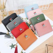 Female Short Wallet Japanese Style Women Cherry Printing Tassel Design Card Holder Purse