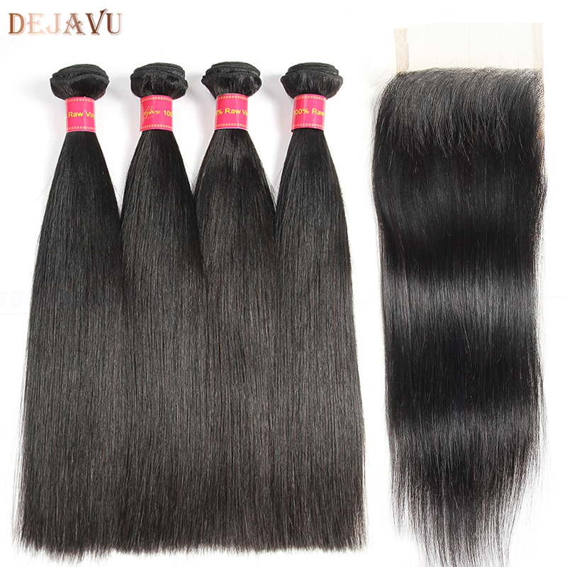 Dejavu Brazilian Straight Hair 4 Bundles With Closure Non Remy Hair Extensions 100% Human Hair Bundles Weave With Lace Closure