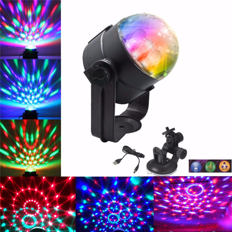 3W USB LED RGB Stage Light Voice-Activated Crystal Magic Ball Lamp For Disco DJ Festival Party Decor Stage Lighting Effect 5V 6w e27 led stage light rgb lamp with voice activated mp3 projector crystal magic ball rotating disco dj party stage lighting