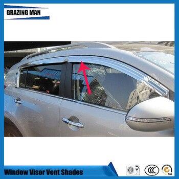 Sun visor Car accessories chrome window Visor Vent Shades Sun Rain Deflector Guard 4PCS/SET for sportage R