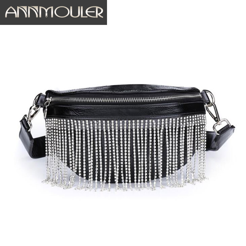 Annmouler Fashion Women Waist Bag Pu Leather Fanny Pack Large Capacity Rhinestone Tassel Chest Bag For Girl Phone Pouch Belt Bag