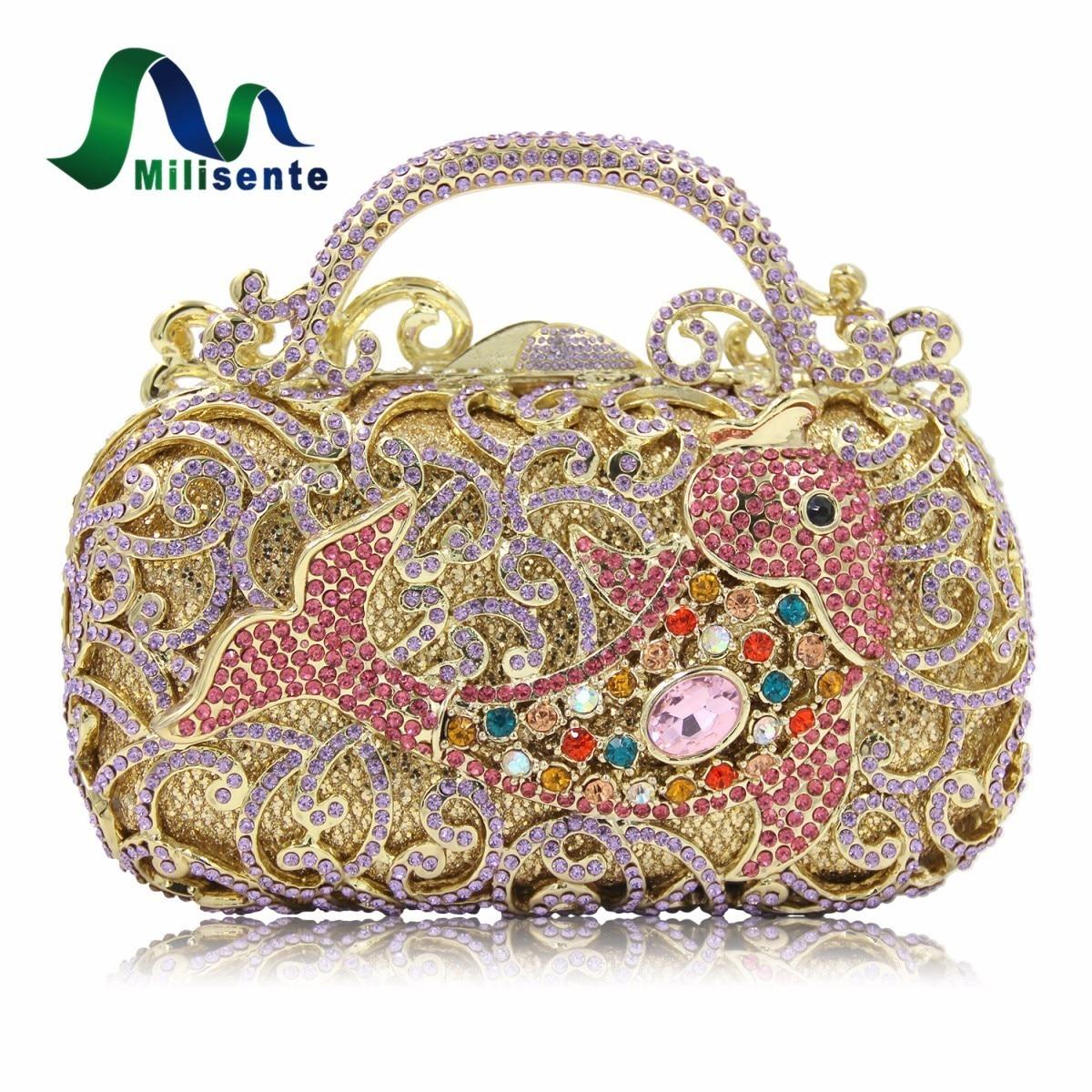 Milisente New Design Princess Crystal Purse Long Chain  Ladies Date Clutch Women Evening Bag Birthday Gift Good Quality