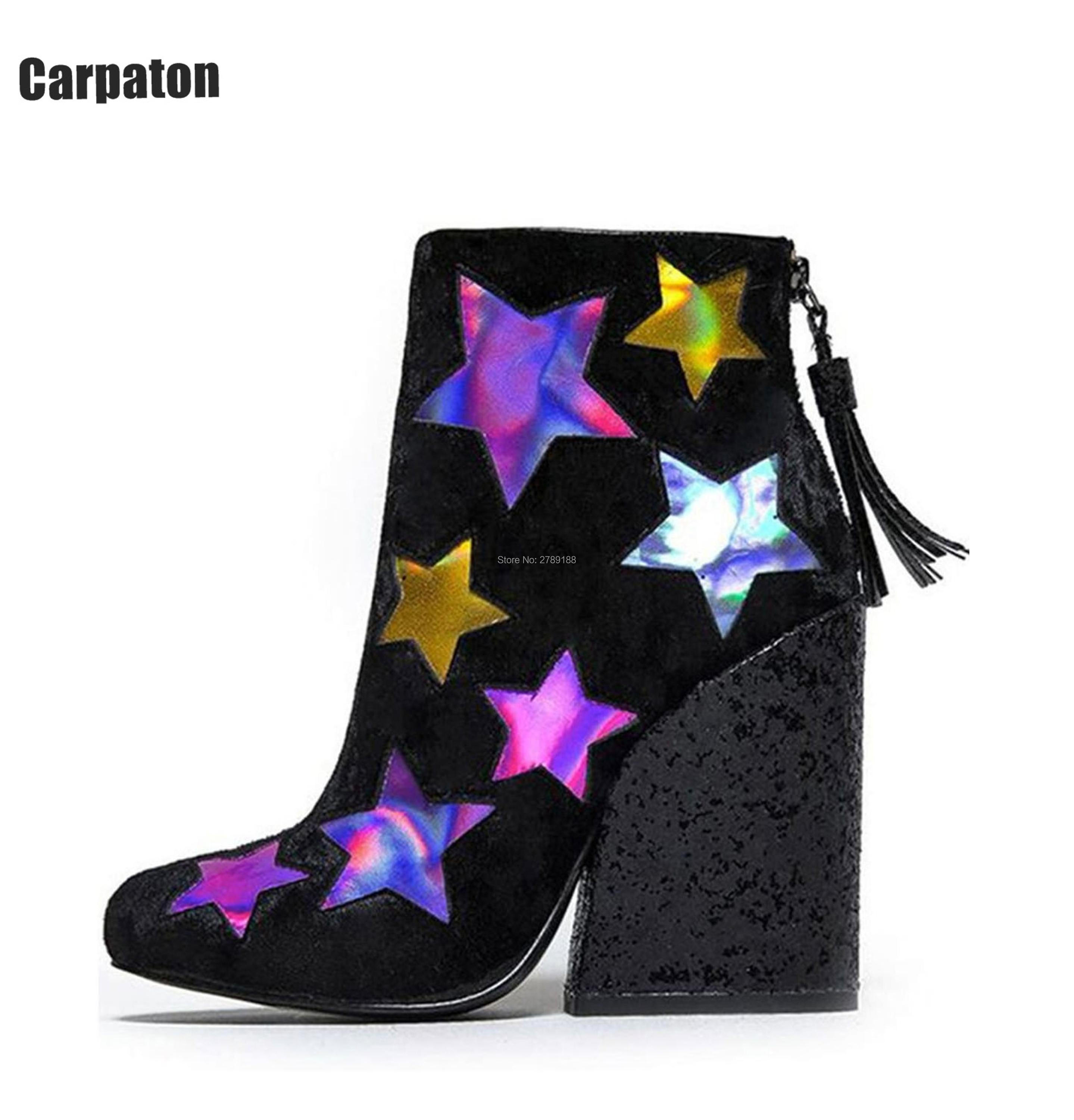 Spring Bling Bling Sequined Cloth High thick Heels Ankle Boots Back Zipper Tassel Shoes Mixed Colors Stars Fringed Pumps booties 2017 fashion style green sandals women bling bling mixed colors women shoes zipper summer ankle boots high heels sandals mujer