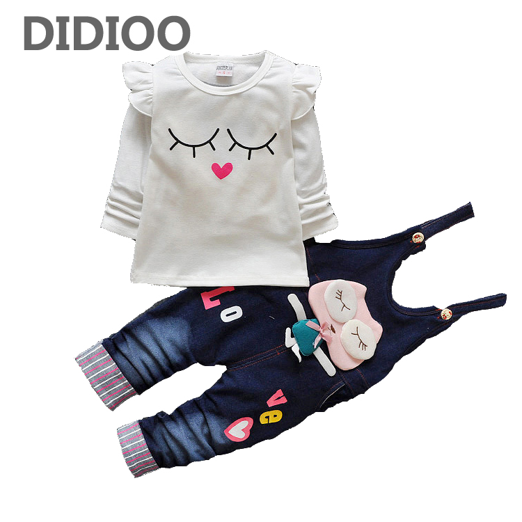 Toddlers Clothing Sets For Girls Outfits Cotton Long Sleeve T-Shirts & Denim Overalls 2Pcs Cartoon Baby Tees Girls Jeans 9M-24M