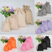 5 unids/lote Vintage arpillera Natural bolsas de yute bolsa de embalaje de joyería Favor de la boda bolsa con cordón bolsas de regalo