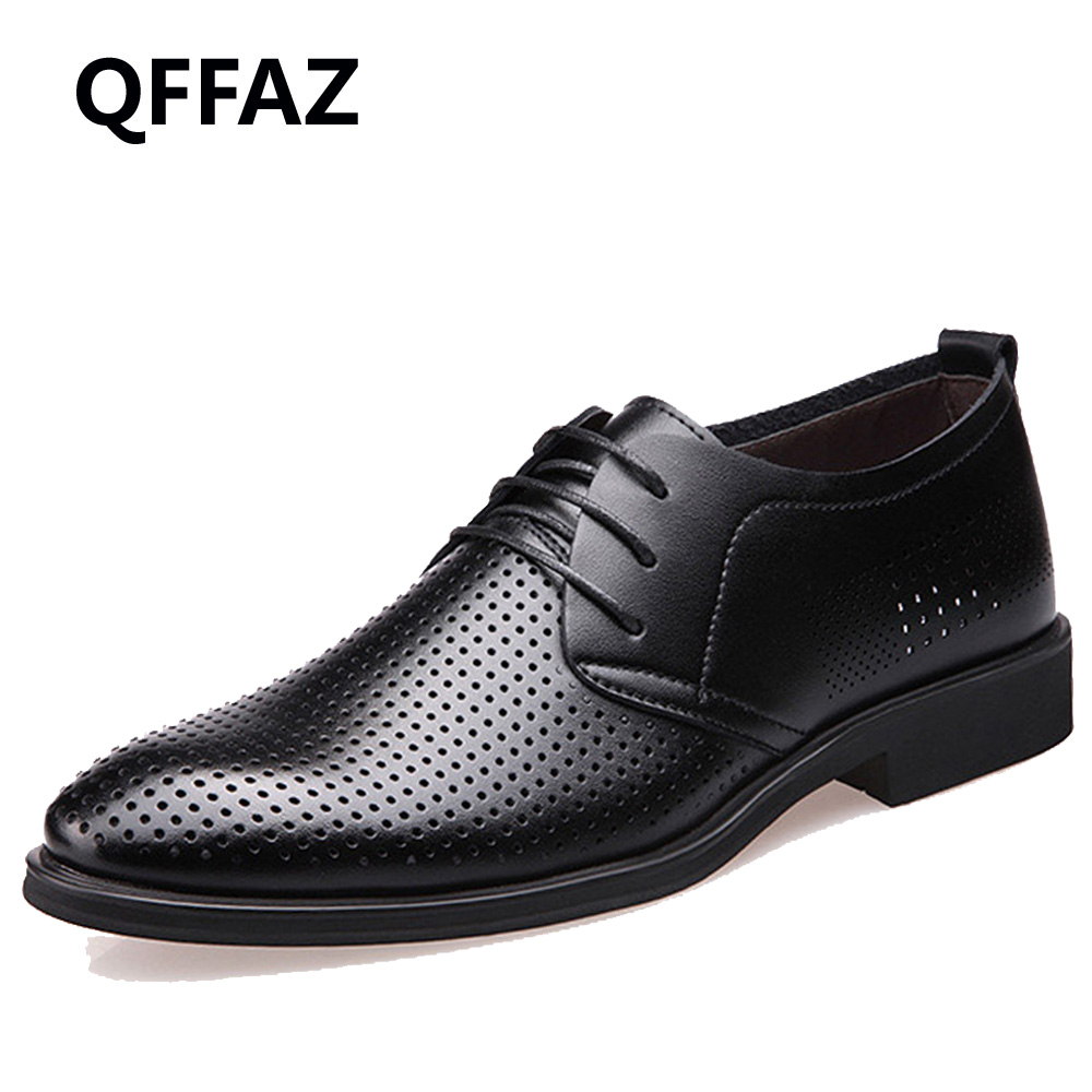 QFFAZ Brand Genuine Leather Shoes Men Oxford Top Quality Comfortable Men Flats Dress Shoes Men Summer Shoes цены онлайн