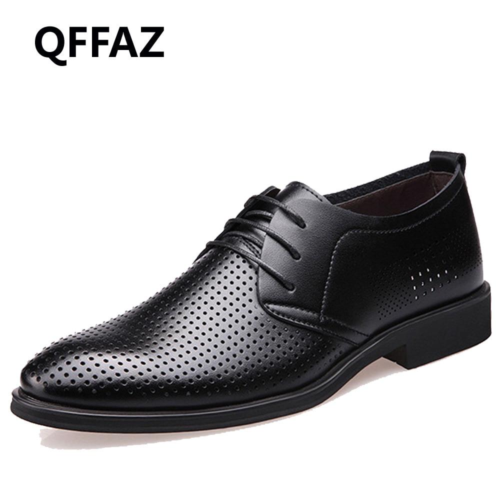 QFFAZ Brand Genuine Leather Shoes Men Oxford Top Quality Comfortable Men Flats Dress Shoes Men Summer Shoes