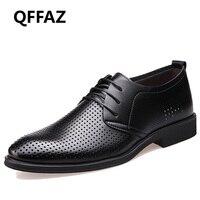 Qffaz бренд Пояса из натуральной кожи Обувь Для мужчин Оксфорд Одежда высшего качества удобные Для мужчин модельная обувь на плоской подошве ...