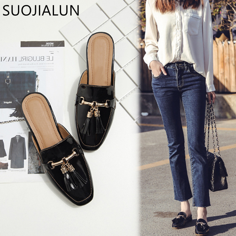 SUOJIALUN Brand 2018 Autumn Plus Size 36 41 Women Slipper Square Toe Flat Woman Slippers Slip On Mules Metal Buckle Slides-in Slippers from Shoes