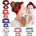 2 PC/Set Mãe Do Bebê Enfeites de Cabelo Orelhas de Coelho Gravata borboleta Bebê Headband Hoop Cabelo Nó Arco de Algodão Stretch Headbands Do Cabelo acessórios