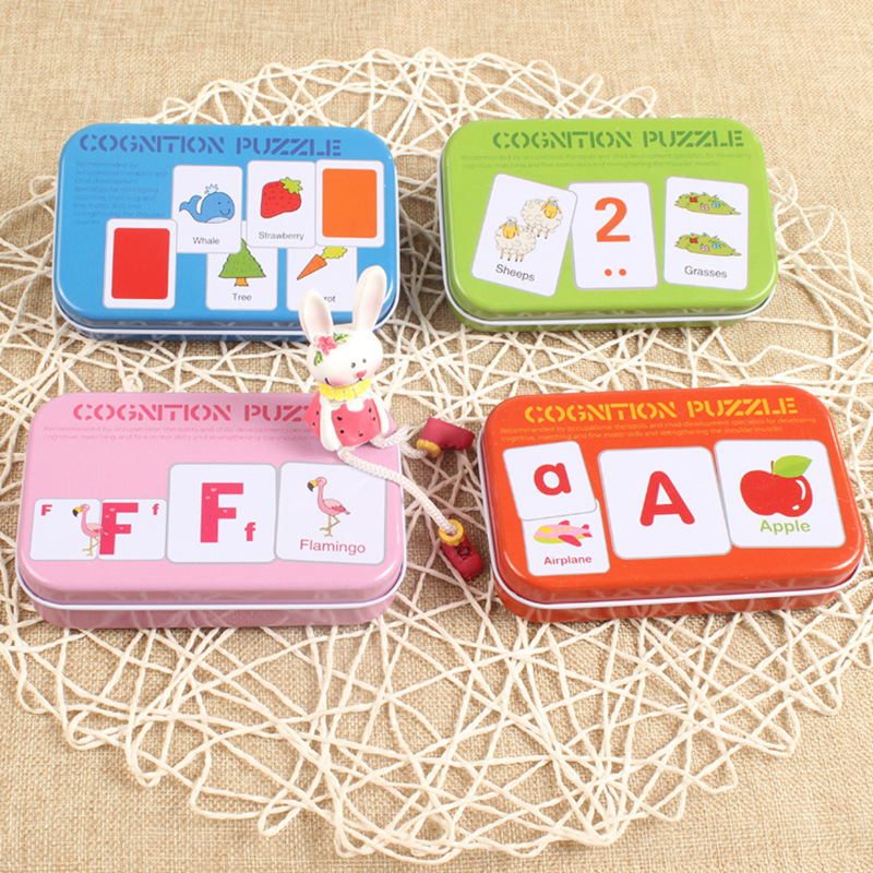2018 Early Educational Montessori English Alphabet Shape Animal Match Game Puzzle Card T ...