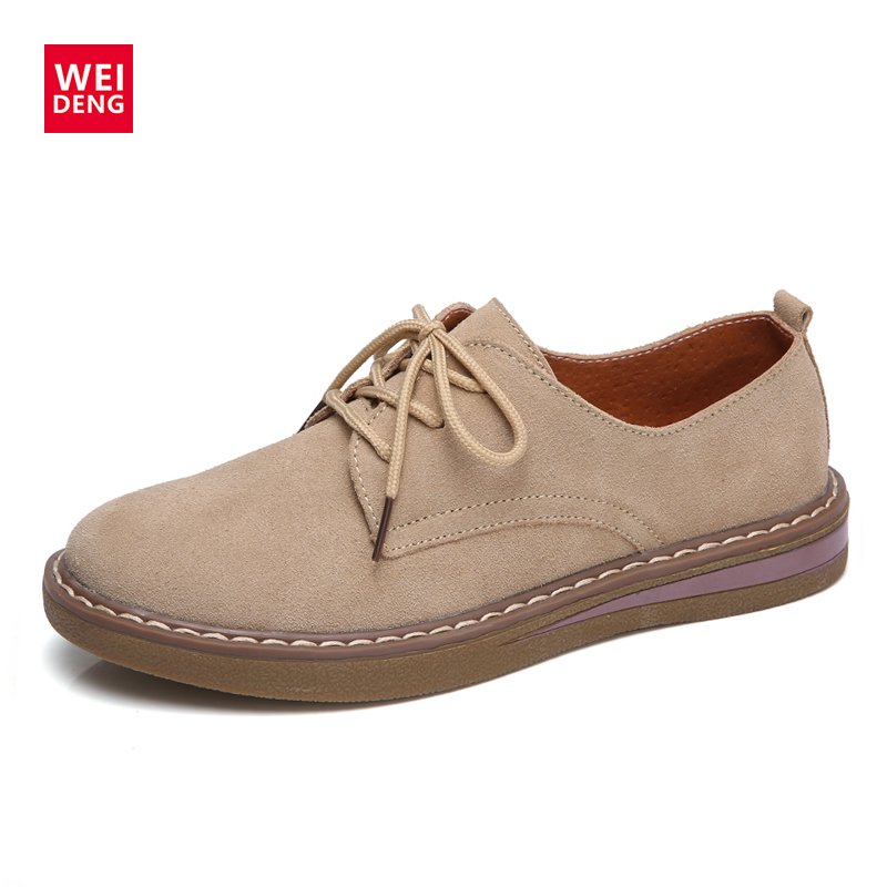 WeiDeng Autumn Women Genuine Leather Cow Suede Flats Oxford Loafers Winter Shoes Lace Up Casual Non Slip Fashion Zapato Winter