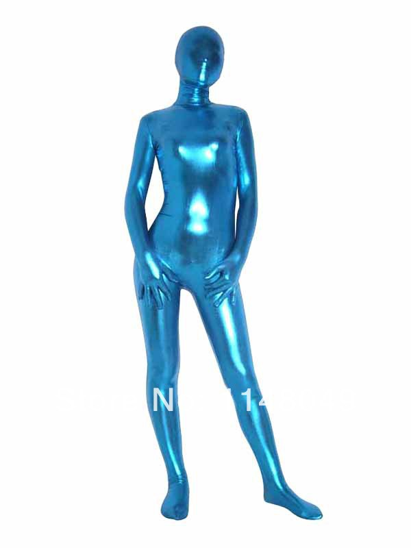 Light Blue Full Body Shiny Metallic Zentai Suit