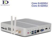 Большая акция для Новогодние Intel Core i5 6200U 5200U 4200U безвентиляторный мини-ПК 4 К стример HTPC HDMI VGA рабочего стола компьютер
