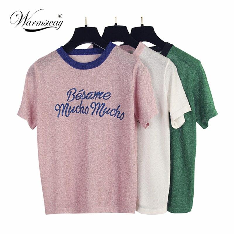 Korean Cute Letter Tee Shirt Femme Hipster Harajuku Lurex Womens Clothing Kawaii Ladies Short Sleeve T Shirt Women Tops B-052