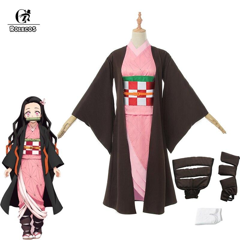ROLECOS Anime Demon Slayer Kamado Nezuko Cosplay Costume Kimetsu no Yaiba Cosplay Costume Kimono Women Uniform