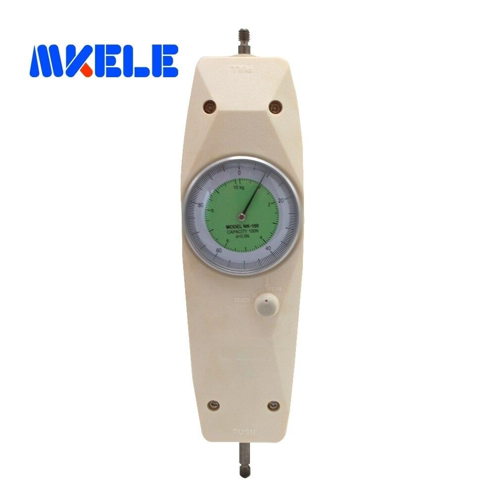 NK-100 100N Pointeur Dynamomètre Analogique Push Pull Force Gauge Testeur Compteur