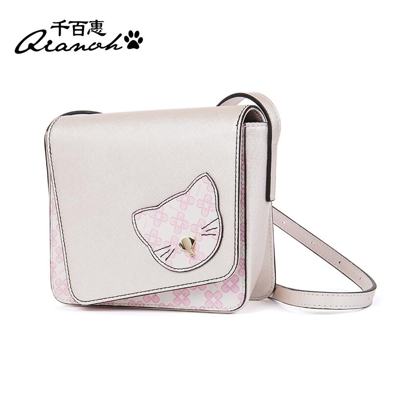 2017 new mini square bag Korean version of the wave shoulder bag Personality cat Messenger bag the eyes of the cat