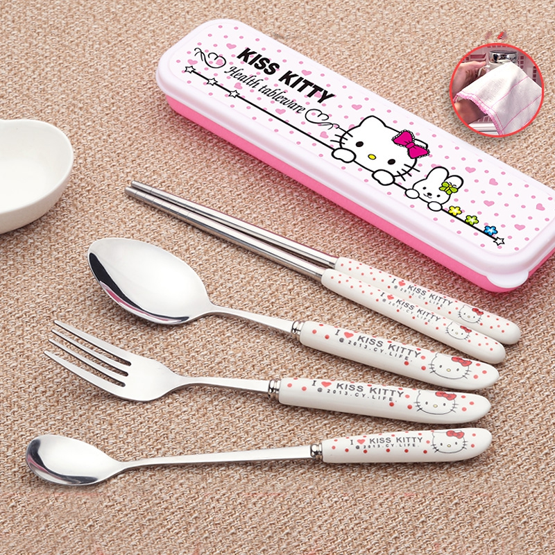 4pcs//set Cute Hello Kitty Tableware Spoon Fork Chopsticks Storage Box Gift