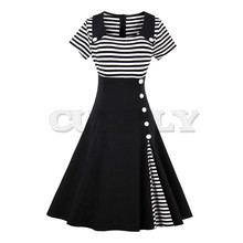 CUERLY vintage dress autumn black white striped patchwork short sleeve botton decoration 1950s 2019 women