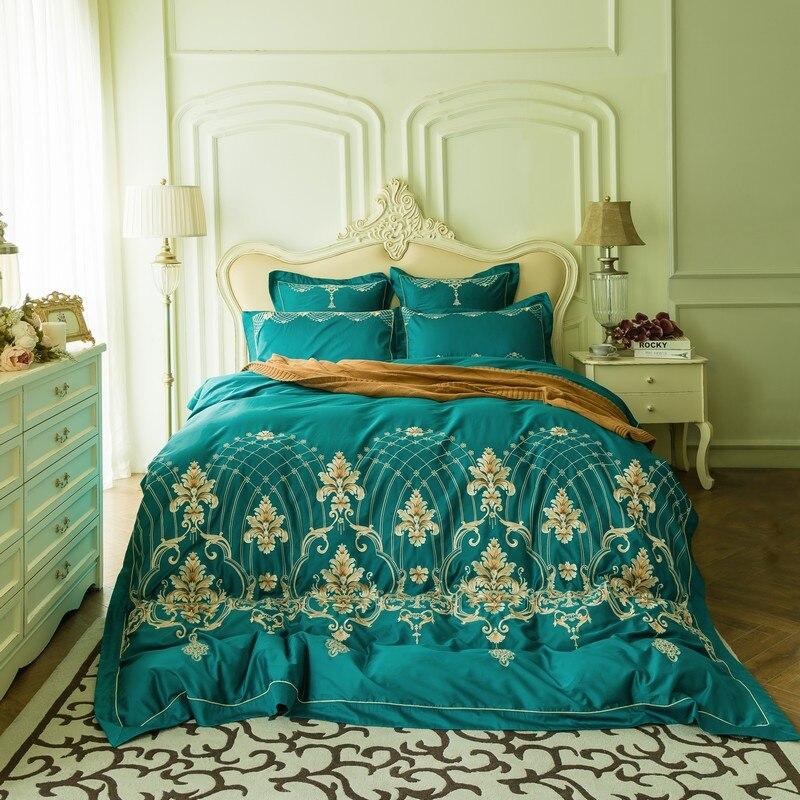 Vert luxe fil d'or broderie coton égyptien ensemble de literie reine roi taille housse de couette linge de lit draps taies d'oreiller